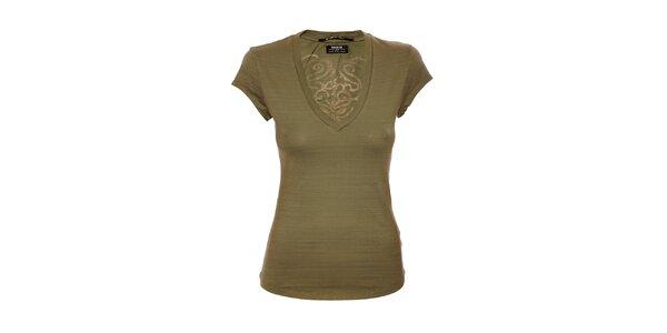 Dámské bavlněné triko značky Rare v khaki barvě