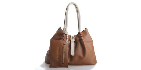 Dámská hnědá kožená kabelka Belle & Bloom s béžovými uchy