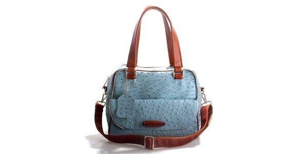 Dámská světle modrá kabelka Belle & Bloom v efektu pštrosí kůže