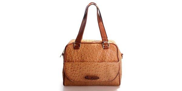Dámská karamelová kabelka Belle & Bloom v efektu pštrosí kůže