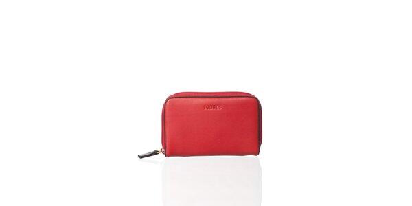 Červená kožená peněženka Gianfranco Ferré s tmavě hnědým lemem