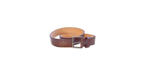 Pánský hnědý kožený pásek Dockers 44deec2505