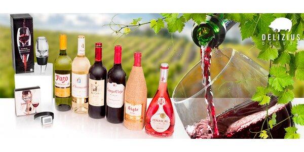 6 láhví španělského vína, teploměr a dekantér