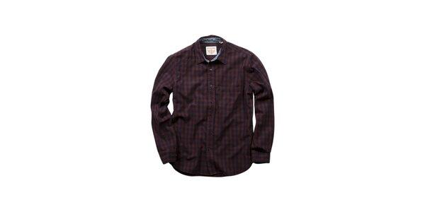 Pánská vínovo-modrá kostkovaná košile Dockers