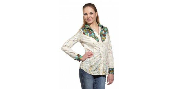 Dámská krémová košile Replay s květinovým potiskem
