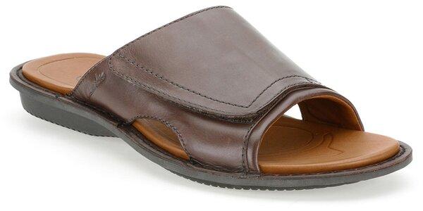 Pánské tmavě hnědé kožené pantofle Clarks