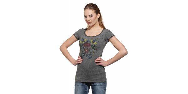 Dámské světle šedé tričko Replay s potiskem