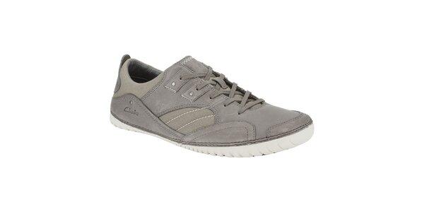 Pánské šedé kožené tenisky Clarks