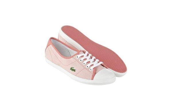 Dámské růžovo-bílé pruhované tenisky Lacoste
