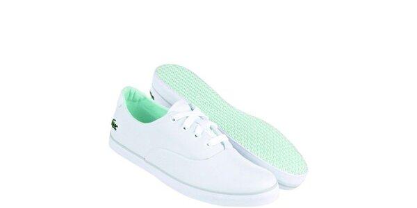 Dámské bílo-zelené textilní tenisky Lacoste
