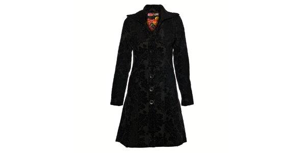 Dámský černý vyšívaný kabát Desigual
