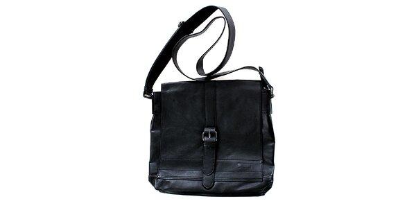 Unisex černá kabelka přes rameno Levis s přezkou