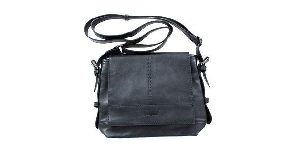 Dámská černá kabelka s dlouhým popruhem přes rameno Levis