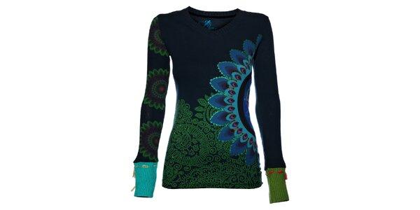 Dámské tmavě modré tričko Desigual s pleteným dlouhým rukávem