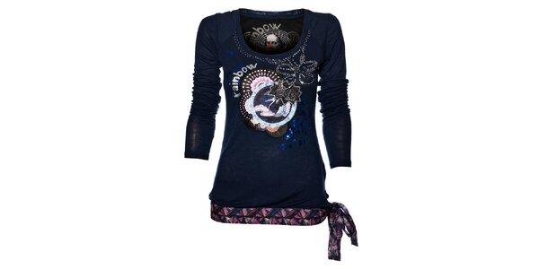 Dámské tmavě modré tričko Desigual s potiskem a korálky