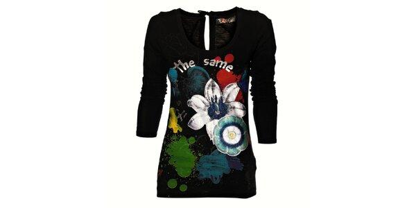Dámské černé tričko Desigual s barevným potiskem