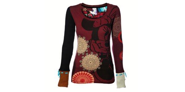 Dámské vínové tričko Desigual s potiskem a dlouhým pleteným rukávem