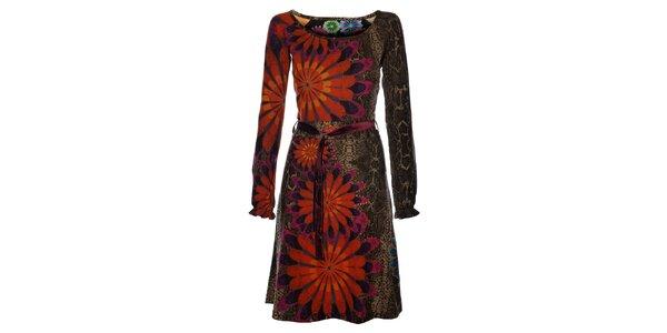 Dámské hnědobéžové šaty Desigual v efektu hadí kůže