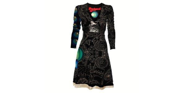 Dámské černé šaty Desigual s metalickým potiskem