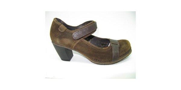 Dámské hnědé semišové boty na podpatku Goldmud