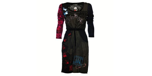 Dámské černé šaty Desigual s potiskem a flitry