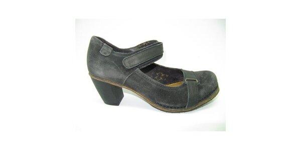 Dámské šedé semišové boty na podpatku Goldmud