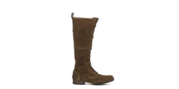 Dámské vysoké hnědé boty se šněrováním Goldmud