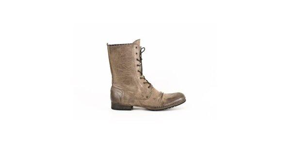 Pánské béžové kožené šněrovací boty Goldmud