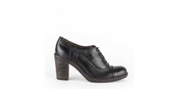 Dámské černé šněrovací boty na podpatku Goldmud
