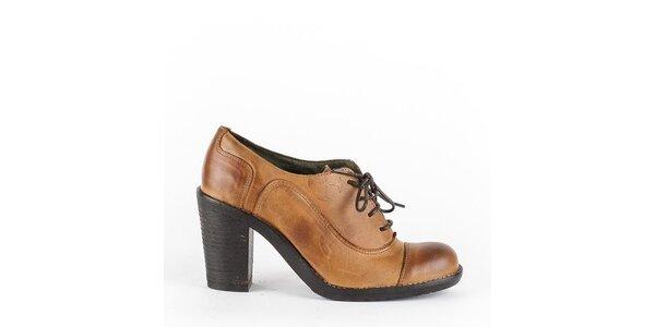 Dámské karamelově hnědé šněrovací boty na podpatku Goldmud