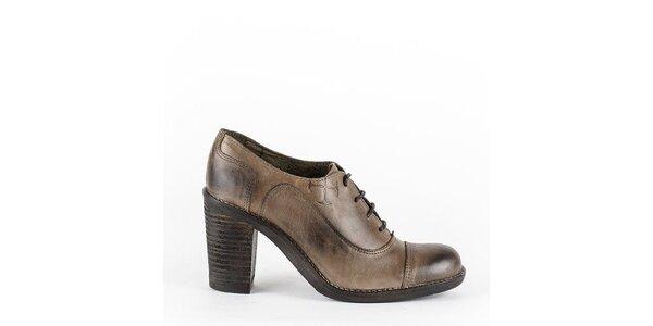 Dámské hnědé šněrovací boty na podpatku Goldmud