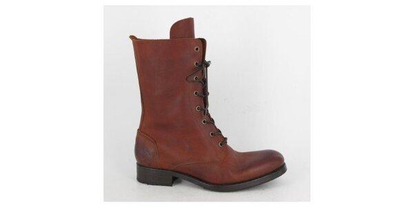 Dámské červeno-hnědé šněrovací boty Goldmud