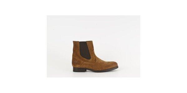 Dámské hnědé semišové chelsea boty Goldmud