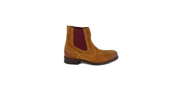 Dámské koňakově hnědé semišové chelsea boty Goldmud