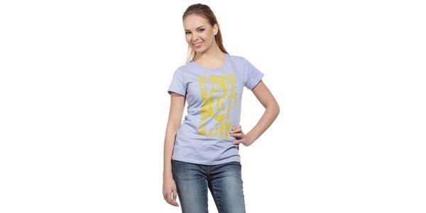 Dámské světle fialové tričko Replay se žlutým potiskem