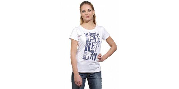Dámské bílé tričko Replay s modrým potiskem