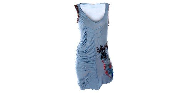 Dámské modré šaty bez rukávů s výšivkou Angels Never Die