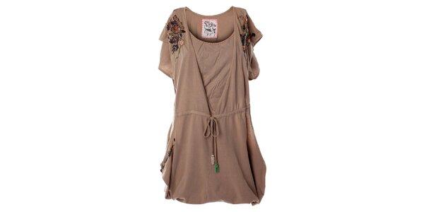 Dámské béžové šaty s květinovou aplikací Angels Never Die