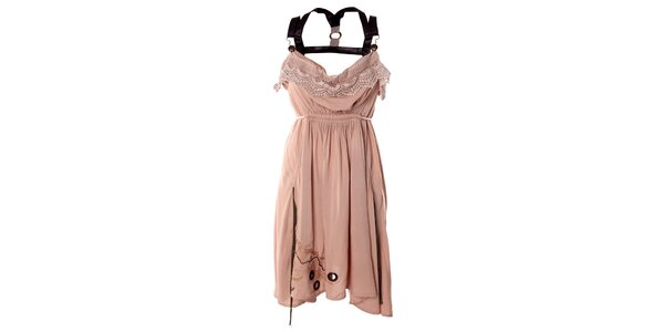 Dámské růžové romantické šaty s černými kšandami Angels Never Die