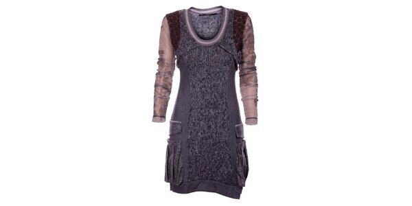 Dámské tmavě šedé šaty Angels Never Die s pleteninou