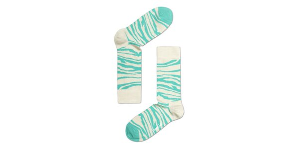 Modro-bílé zebrované ponožky Happy Socks