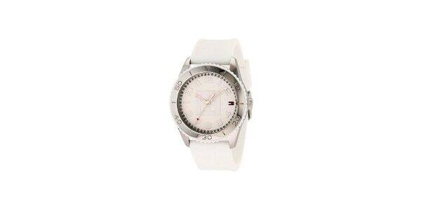 Dámské ocelové hodinky Tommy Hilfiger s bílým silikonovým řemínkem