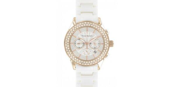 Dámské zlaté hodinky Yves Bertelin s bílým keramickým řemínkem