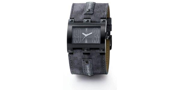 Pánské tmavě šedé hranaté hodinky Bruno Banani