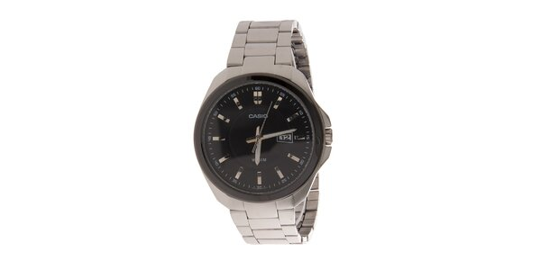 Pánské ocelové náramkové hodinky Casio s černým ciferníkem