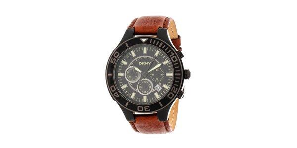 Pánské černé hodinky DKNY s hnědým koženým řemínkem
