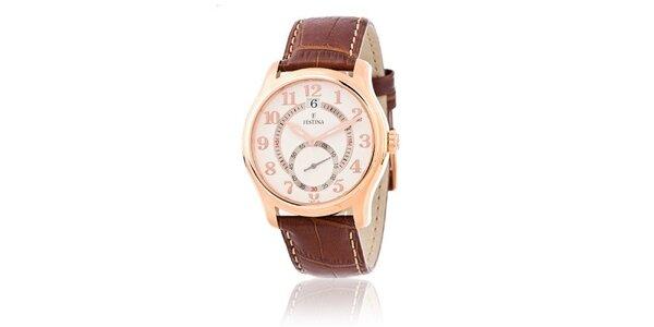 Pánské zlaté ocelové hodinky Festina s bílým koženým řemínkem
