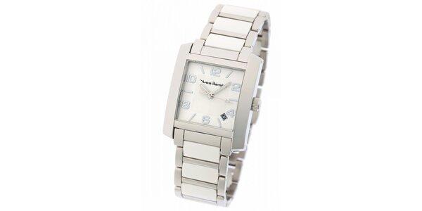 Dámské ocelové hodinky Yves Bertelin s bílým keramickým řemínkem