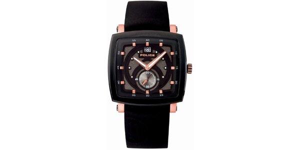 Pánské hranaté černé analogové hodinky Police