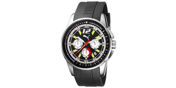 Pánské černé hodinky Puma s luminiscenčními ručičkami